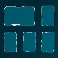 HUD futuristic user interface screen elements set. Abstract control panel layout design. Sci fi virtual tech display. Vector illustration isolated on transparent background