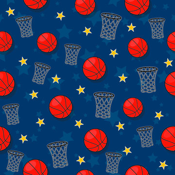 The seamless pattern on the basketball theme.
