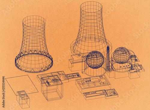 Nuclear Power Plant Reactor Retro Architect Blueprint Stock