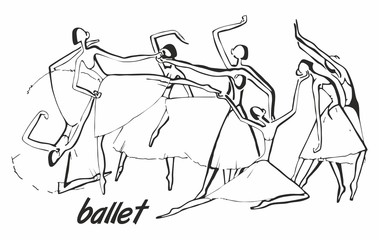 black graphic drawing ballet where the ballerinas in packs are dancing