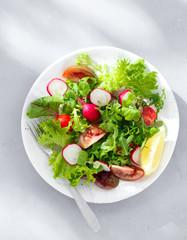 Plate fresh salad Healthy food clean eating top view