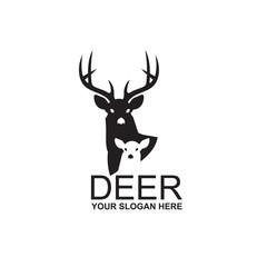 emblem of black deer isolated on white background
