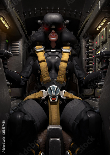 Frontal view of a female pilot sitting in the cockpit  Mech