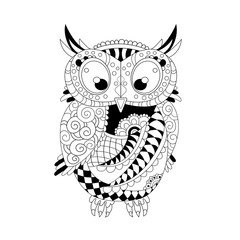 Coloring page with cute owl hand drawn zentangle. Adult antistress coloring page - vector illustration