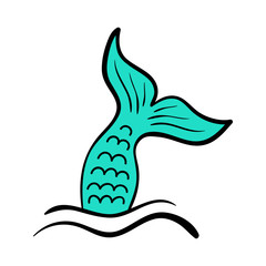 Mermaid tail vector graphic illustration. Hand drawn teal, turquoise mermaid, fish tail with black outline, in sea, ocean waves.