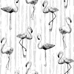 Flamingo pattern. Summer watercolor background.