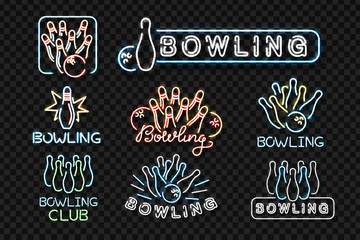 Vector set of realistic isolated neon sign for bowling logo for decoration and covering on the transparent background. Concept of game sport and bowling club.
