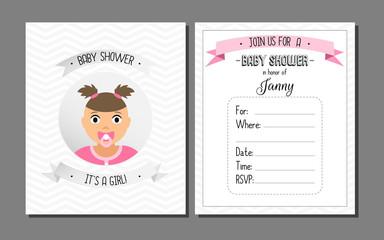Baby shower card. Baby girl.