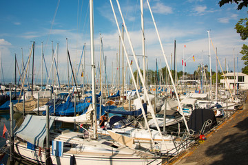 View into the marina of Friedrichshafen at Lake Constance with its many sailing yachts