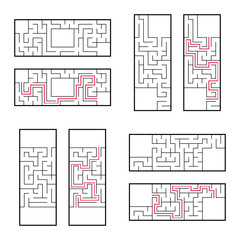 A set of rectangular mazes for children. A puzzle game. Simple flat vector illustration isolated on white background. With the correct answer.