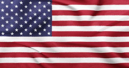 USA flag fluttering in the wind