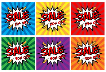 Vector of Comic Speech Bubble with sale off text