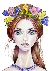 The girl with flower wreath in color (11)
