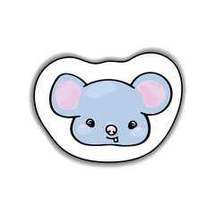 Cute mouse animal face vector sticker with shadow on white background. Friendly mouse with teeth.