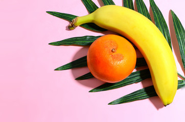 Tropical fruit, a banana and an orange, laying on a silk palm frond with a colorful background. Copy space and harsh shadows