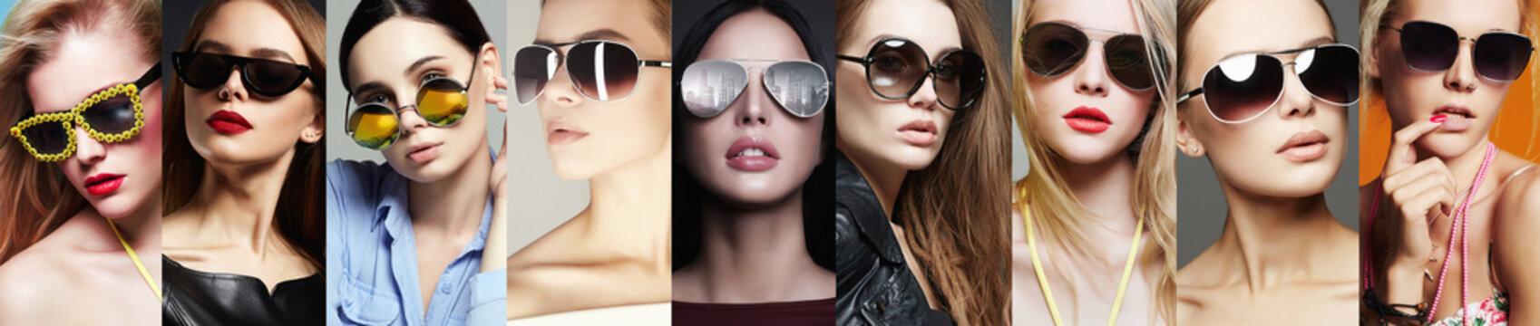Beauty Fashion collage. Women in Sunglasses