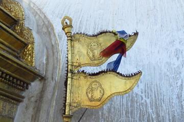 Golden flags at the Swyambhunath stupa aka Monkey Temple, Kathmandu, Nepal