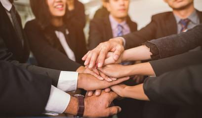 Business Team Stack Hands Support Teamwork Concept.