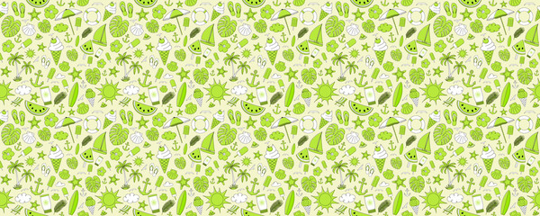 Summer - colourful pattern with cute hand drawn elements. Vector.