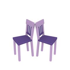Lila Stühle auf weiß isoliert. 3d render