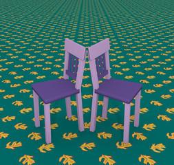 Lila Stühle auf einem endlosen Boden mit Blattmuster. 3d render