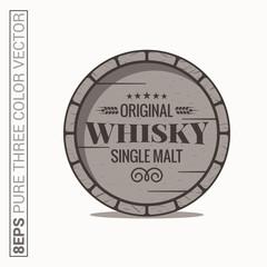 Whisky barrel logo. Single malt whiskey on white background
