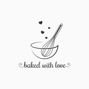 baking with wire whisk logo on white background