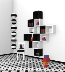 Modernes Wohnen: Regal aus Würfeln in schwarz weiß auf abstrakt gemusterten Boden.Seitenansicht, 3d render
