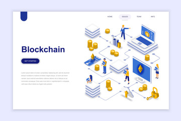 Blockchain modern flat design isometric concept. Cryptocurrency and people concept. Landing page template. Conceptual isometric vector illustration for web and graphic design.