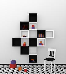 Modernes Wohnen: Regal aus Würfeln in schwarz weiß auf abstrakt gemusterten Boden.Vorderansicht, 3d render