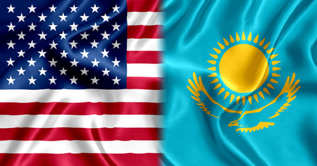 Kazakhstan and the USA flag silk