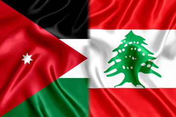 Lebanon and Jordan flag silk