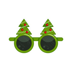 New Year's glasses with christmas tree. Carnival funny sunglasses