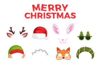 New Year's masks for photos. Christmas clipart Santa Claus and Elf and rabbit and deer, and fox