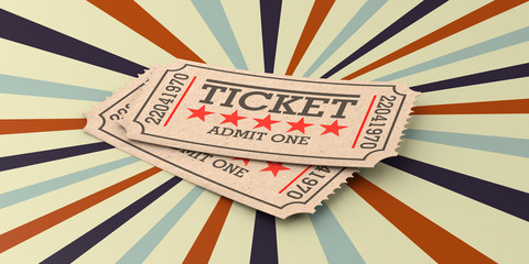 Cinema old type tickets beige isolated recycle, on a vintage circus background, 3d illustration.
