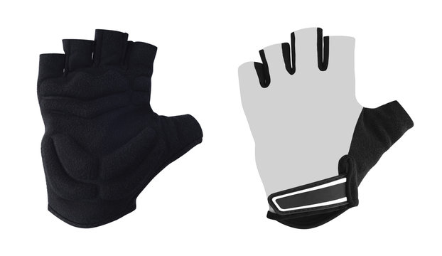 Protective half finger gloves for biking, motorcycling, fitness etc. with foam pads. Front and back view of sport accessories isolated on white background