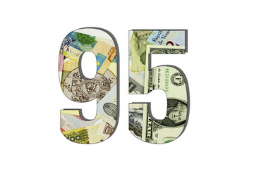 95 Different Worlds Banknotes. Background for business. Money concept White isolated