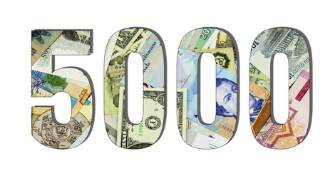 5000 Different Worlds Banknotes. Background for business. Money concept White isolated