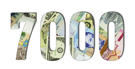 7000 Different Worlds Banknotes. Background for business. Money concept White isolated