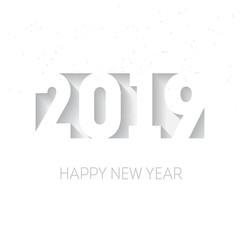 Happy New Year 2019. Three-dimensional elegant xmas design element. Seasons greetings concept. Vector illustration.