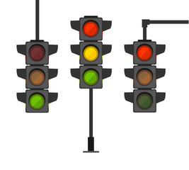 Cartoon Traffic Light Different Types Set. Vector