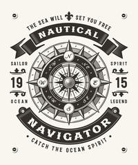 Vintage Nautical Navigator Typography (One Color). T-shirt and label graphics in woodcut style. Editable EPS10 vector illustration.
