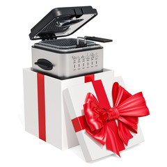 Domestic deep fryer inside gift box, gift concept. 3D rendering