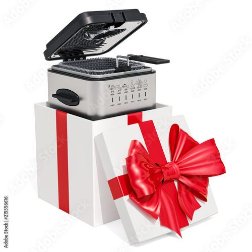 Domestic deep fryer inside gift box, gift concept  3D