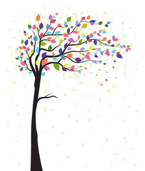 Vector illustration of a natural background with tree and colorful leaves. Autumn