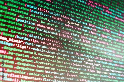 Hacker breaching net security  Source code close-up  SEO