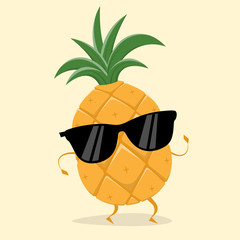 funny pineapple with sunglasses