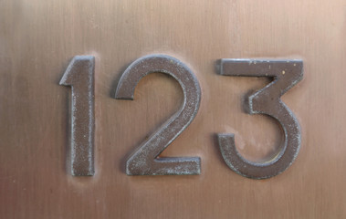 Text with number 123 on the wall Wall mural