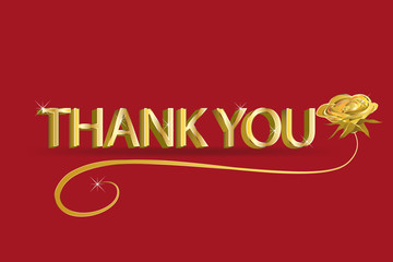 Thank you card red gold design