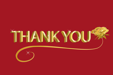 Thank you card in gold red design